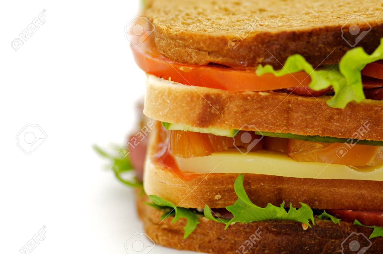 Classical BLT Club Sandwich isolated on white background Stock Photo - 12956477