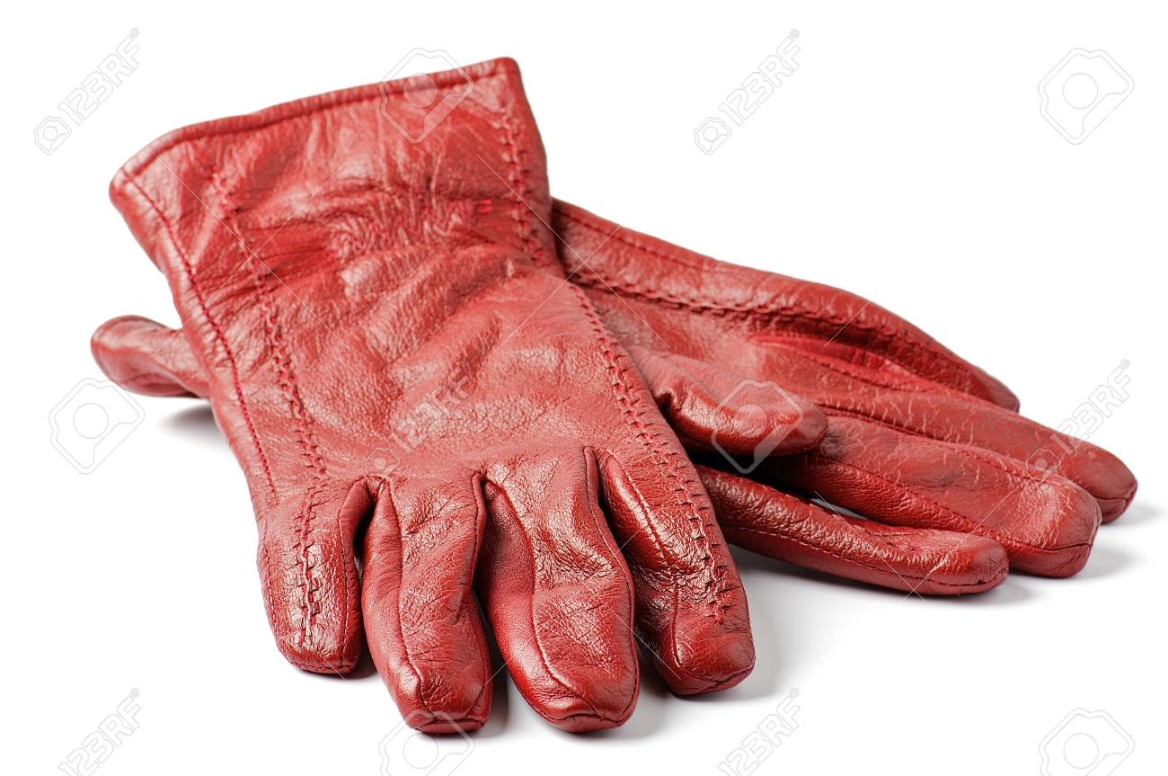 f4dd152fbfe Women s Red leather gloves isolated on white background Stock Photo -  13359543