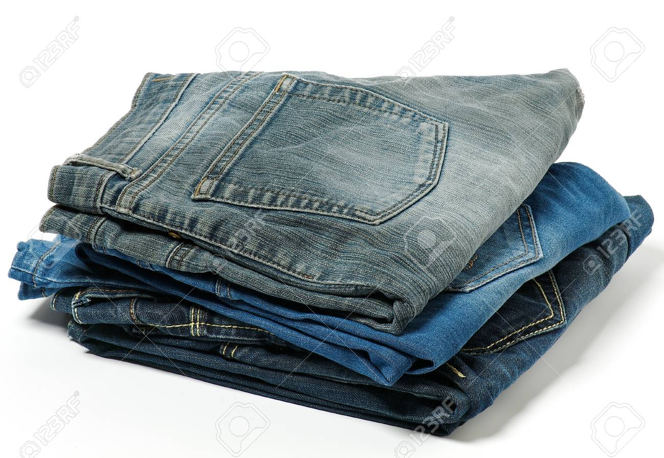 Stack of jeans isolated on white background Stock Photo - 13971161