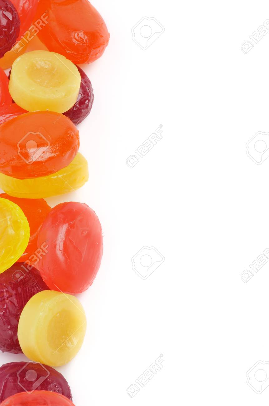 Frame of Multi Coloured Fruit Drops isolated on white background Stock Photo - 16155840