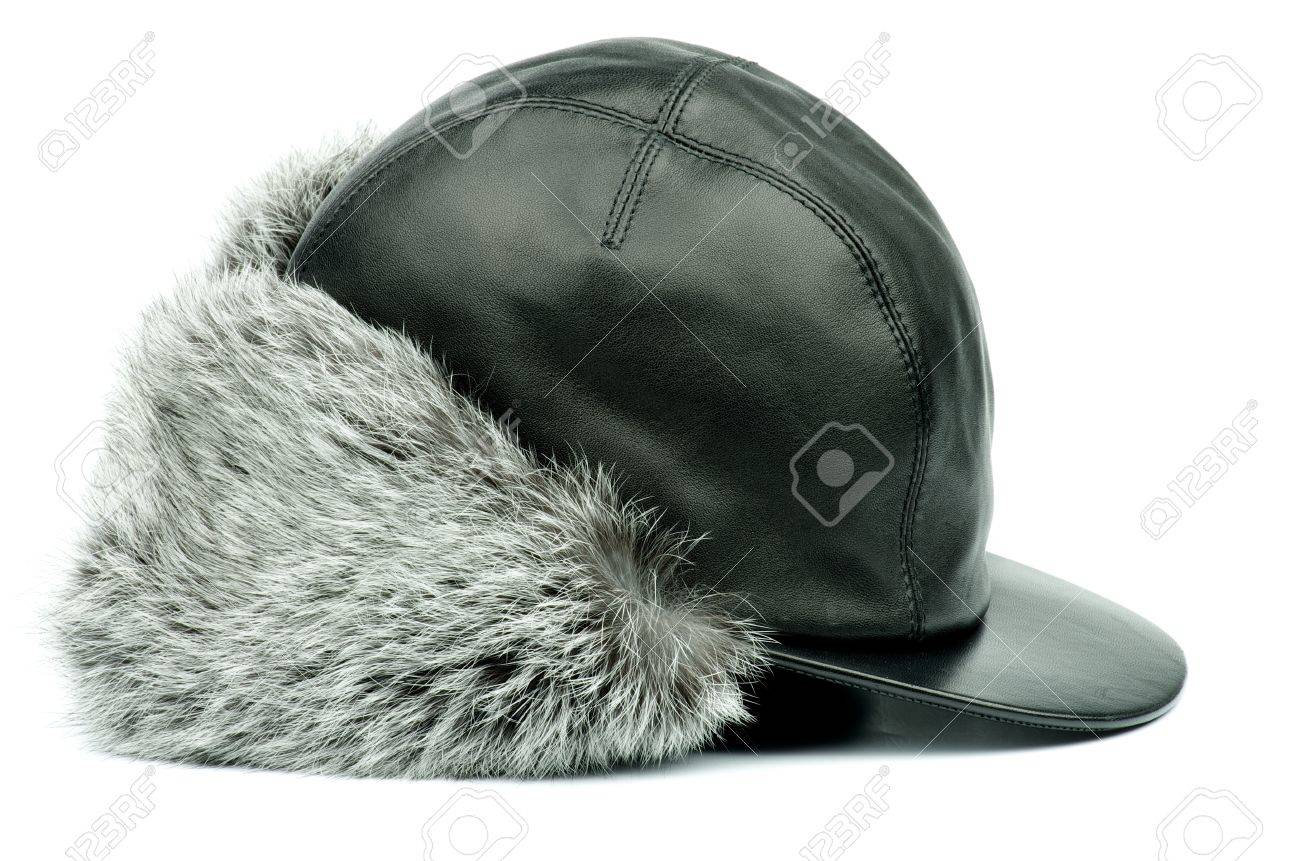 f045a92bd75 Black Leather Winter Fur Hat with Ear Flaps isolated on white background  Stock Photo - 17590275
