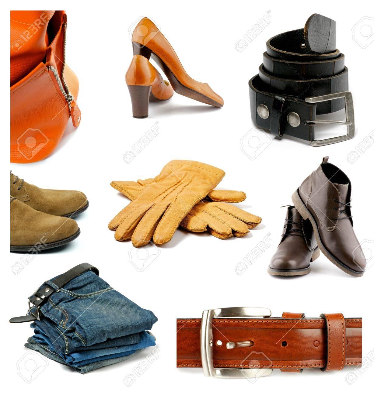 Braderie le prix reste stable modèles à la mode Collection de vêtements, chaussures et accessoires contemporains masculin  et féminin isolé sur fond blanc