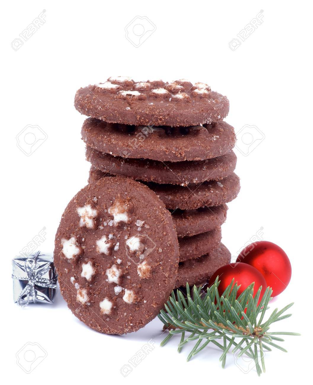 Stack Of Christmas Chocolate Chip Cookies With Sugar Powder Shape