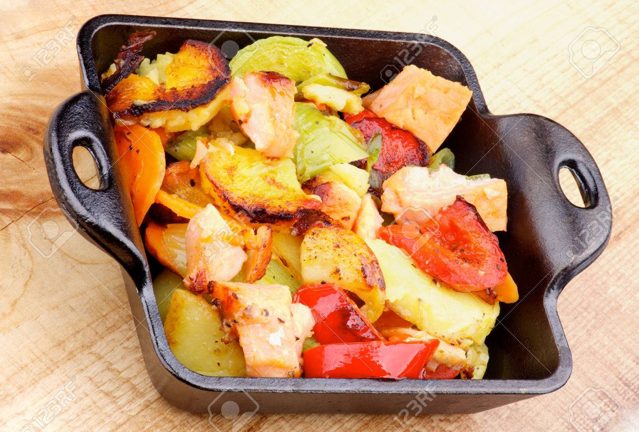 Delicious Homemade Salmon Stew With Potato, Red Bell Pepper
