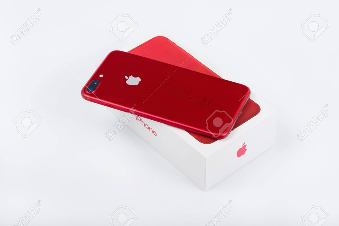 BURGAS, BULGARIA - AUGUST 11, 2018: Apple iPhone 7 Plus Red Special