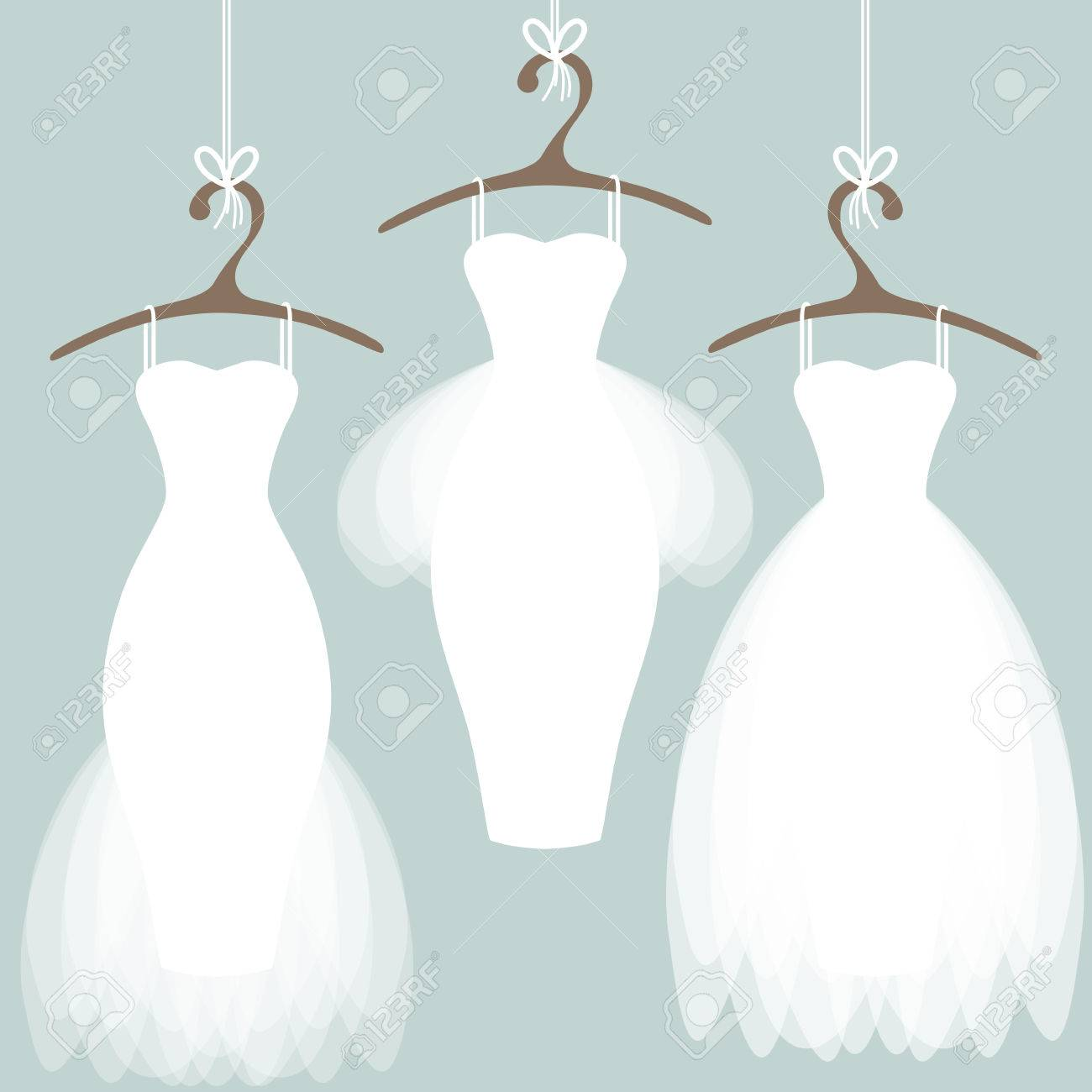 Wedding Dresses On Hangers. Pastel Background Royalty Free Cliparts ...