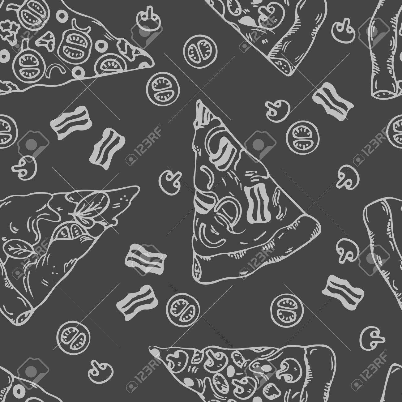 Hand Drawn Slices Of Pizza Seamless Pattern Chalkboard Menu Background Vector Illustration Stock