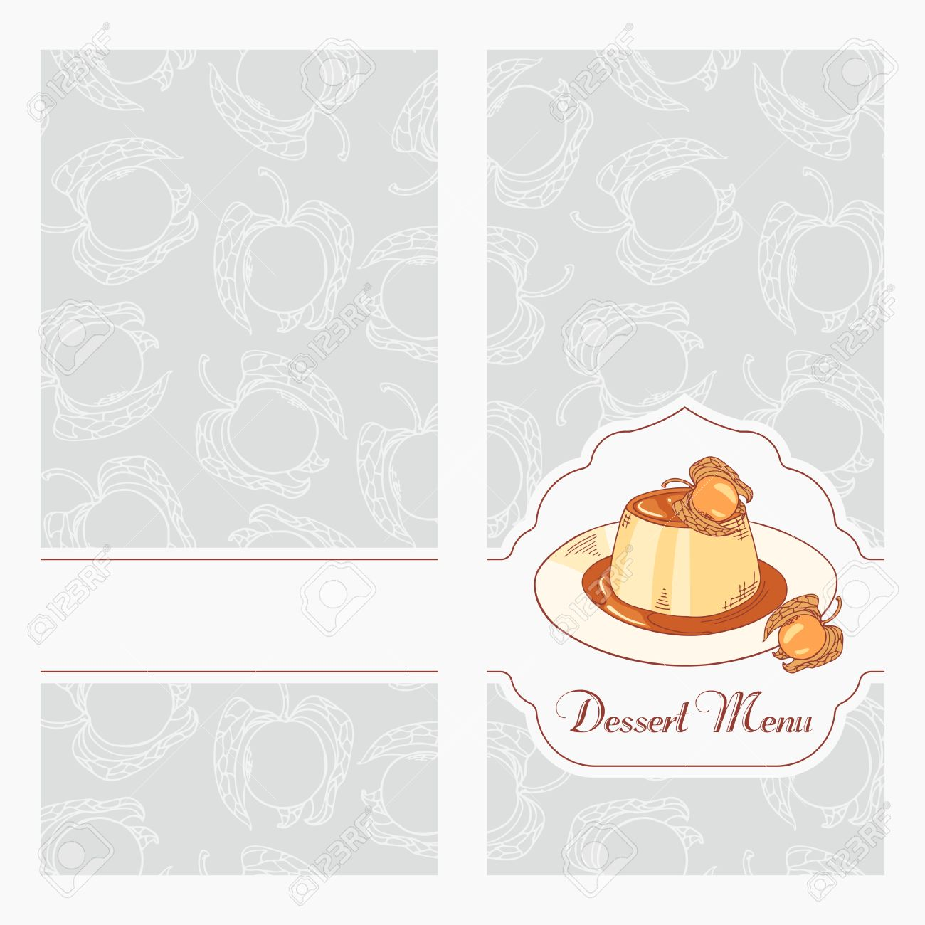 Dessert Menu Template Design For Cafe. Creme Caramel On Plate In Vector.  Sketched Food  Dessert Menu Template