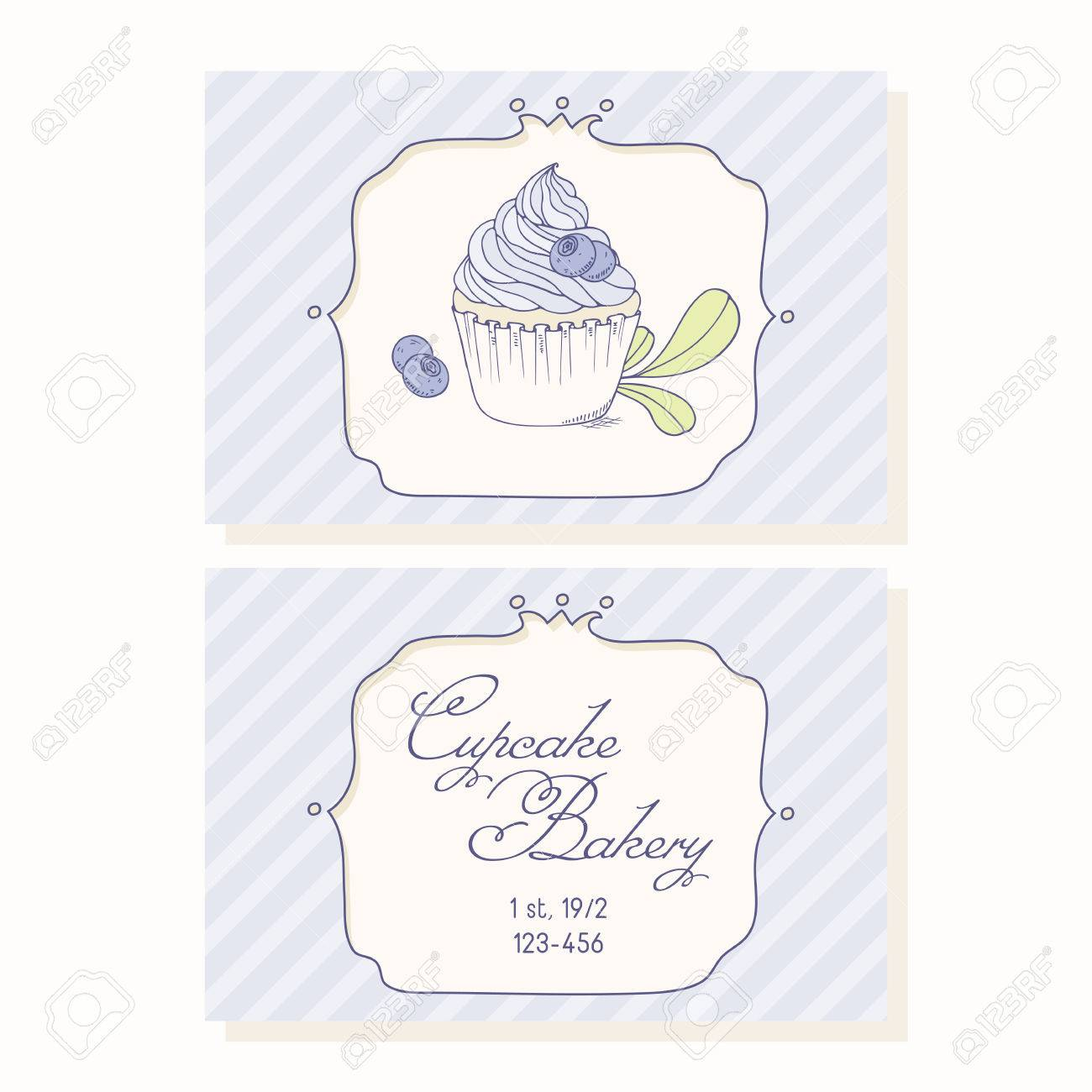 Hand drawn blueberry cupcake business cards template for pastry hand drawn blueberry cupcake business cards template for pastry shop doodle illustration of dessert in cheaphphosting Image collections