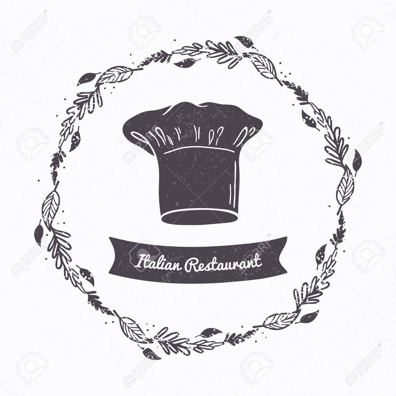 Vector Illustration Of Hand Drawn Textured Chef Hat Floral