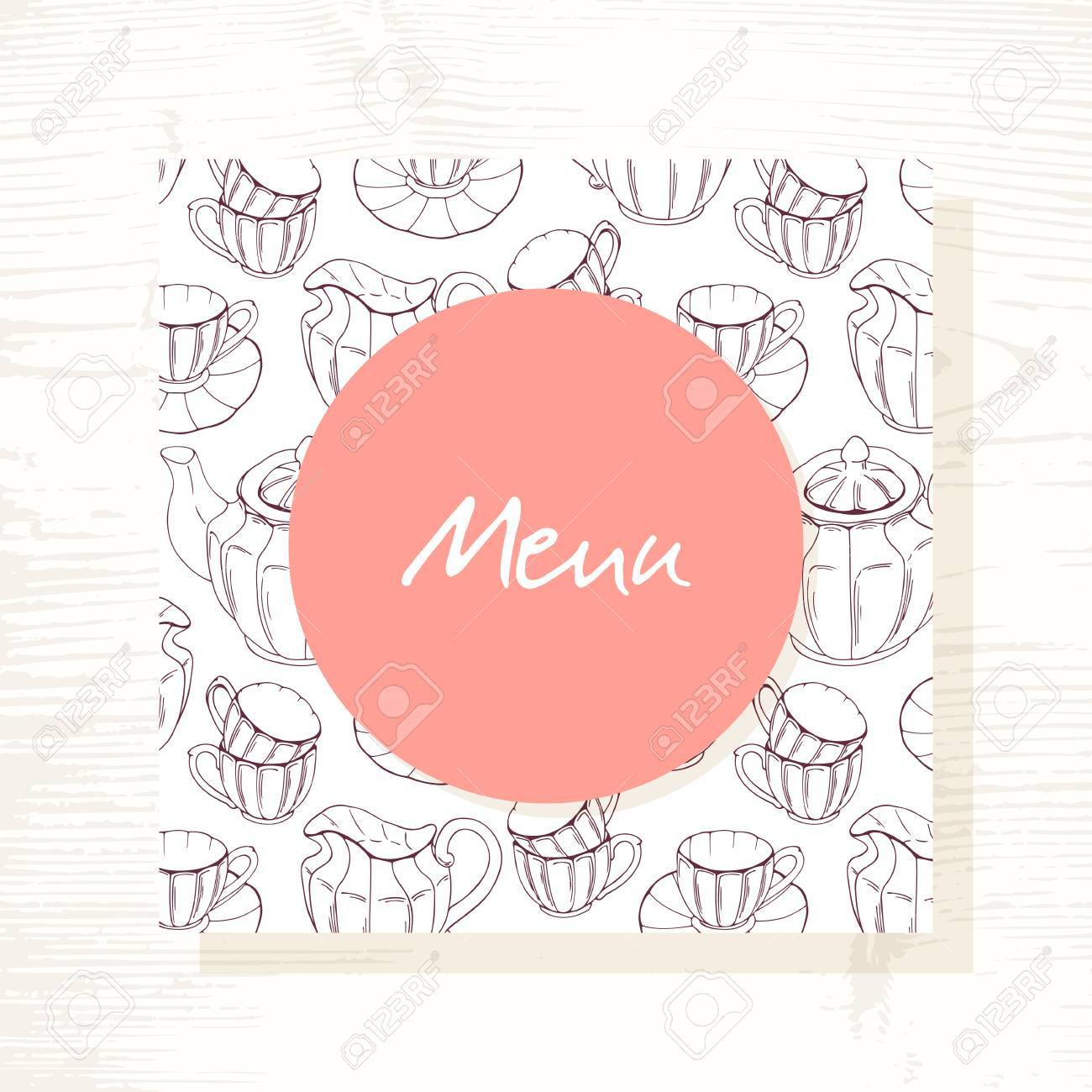 tea room menu template with tea service in vector hand drawn