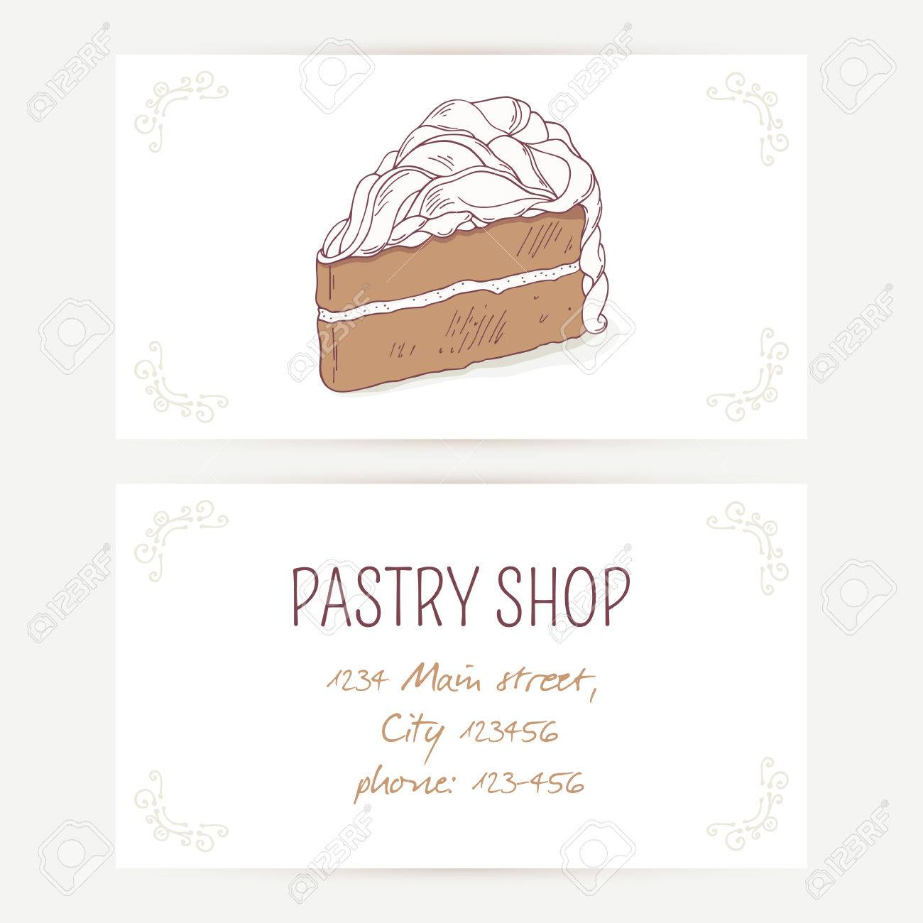 Business card template with chocolate cake vector illustration business card template with chocolate cake vector illustration sweet background for pastry shop with wajeb Choice Image