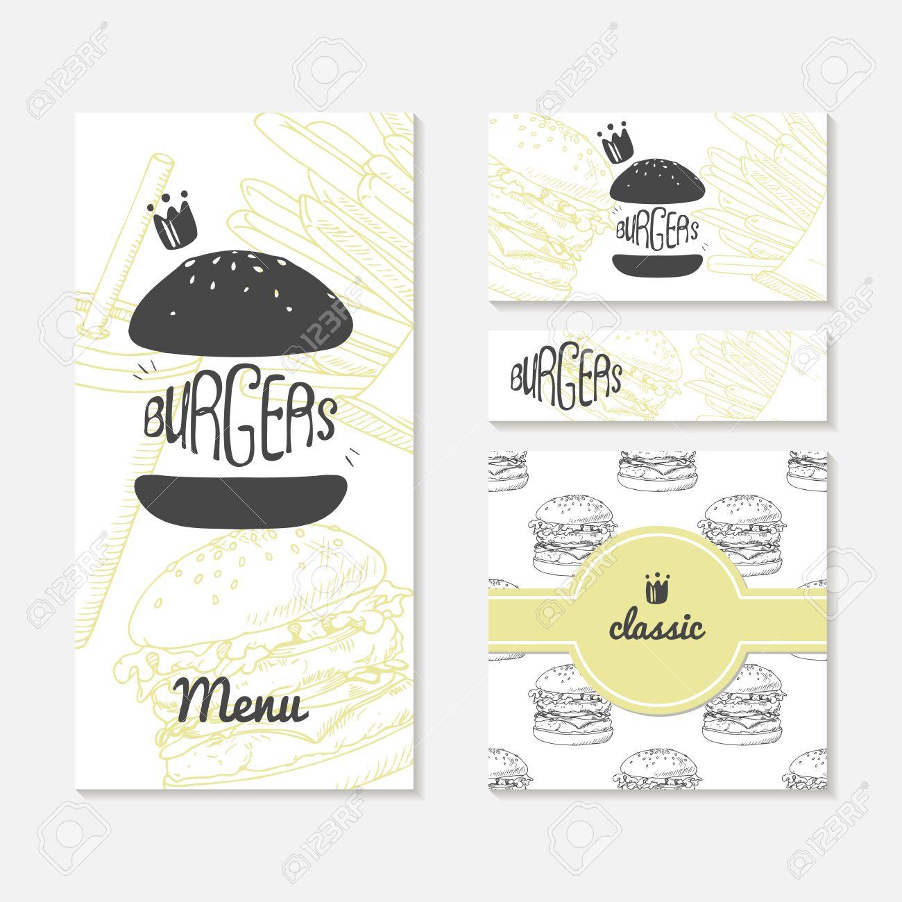 Set Of Cards With Sketched Burger. Fast Food Restaurant Branding ...