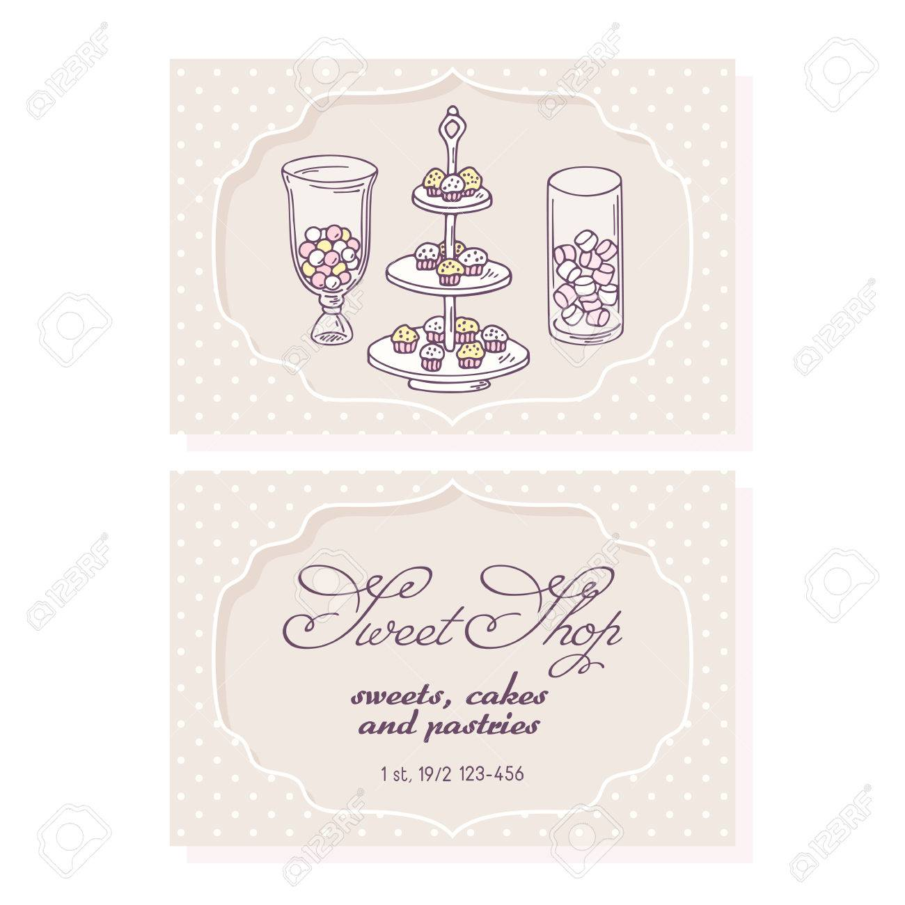 Candy Bar Business Card Template For Pastry Shop. Doodle ...