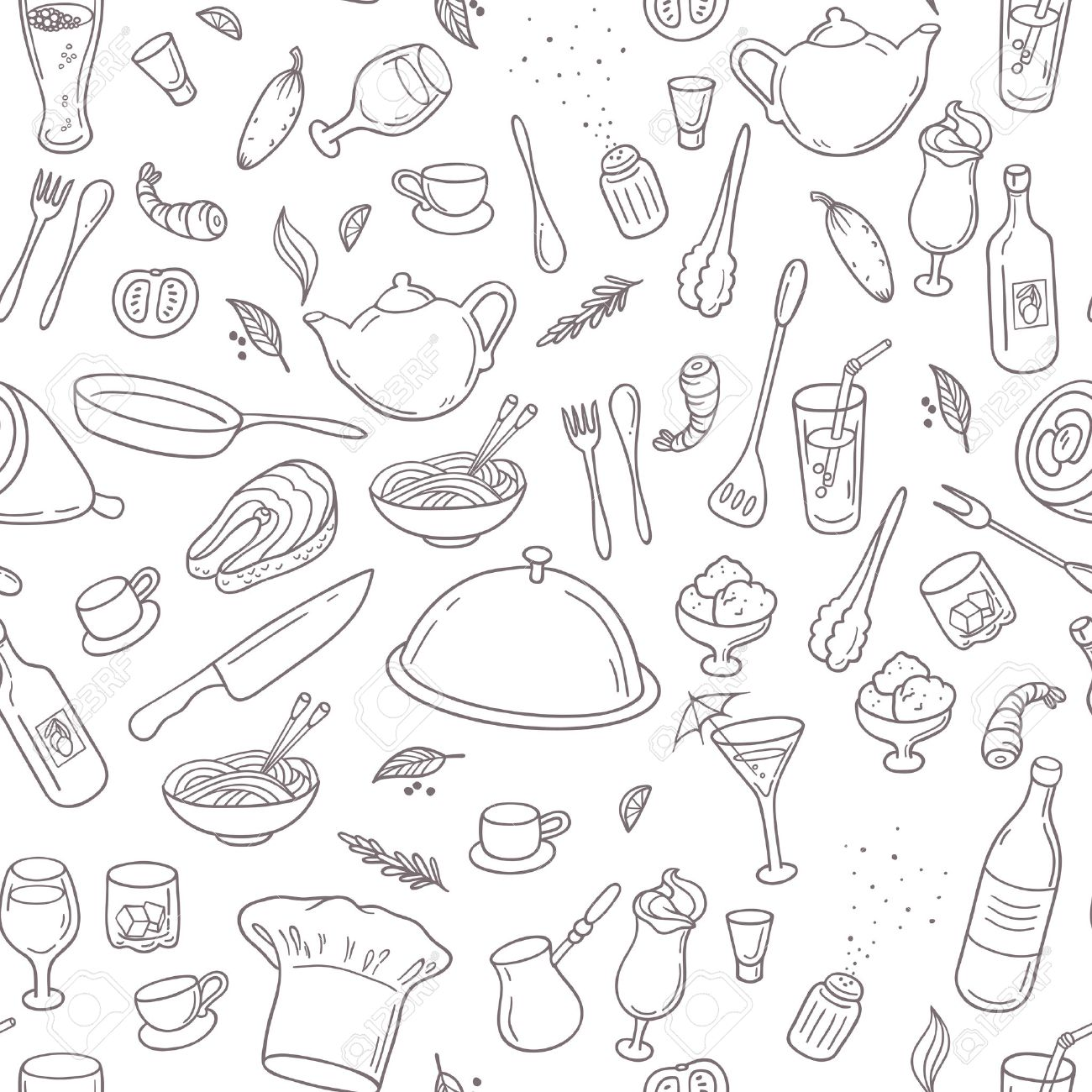 Food And Drink Outline Seamless Pattern. Hand Drawn Kitchen ...