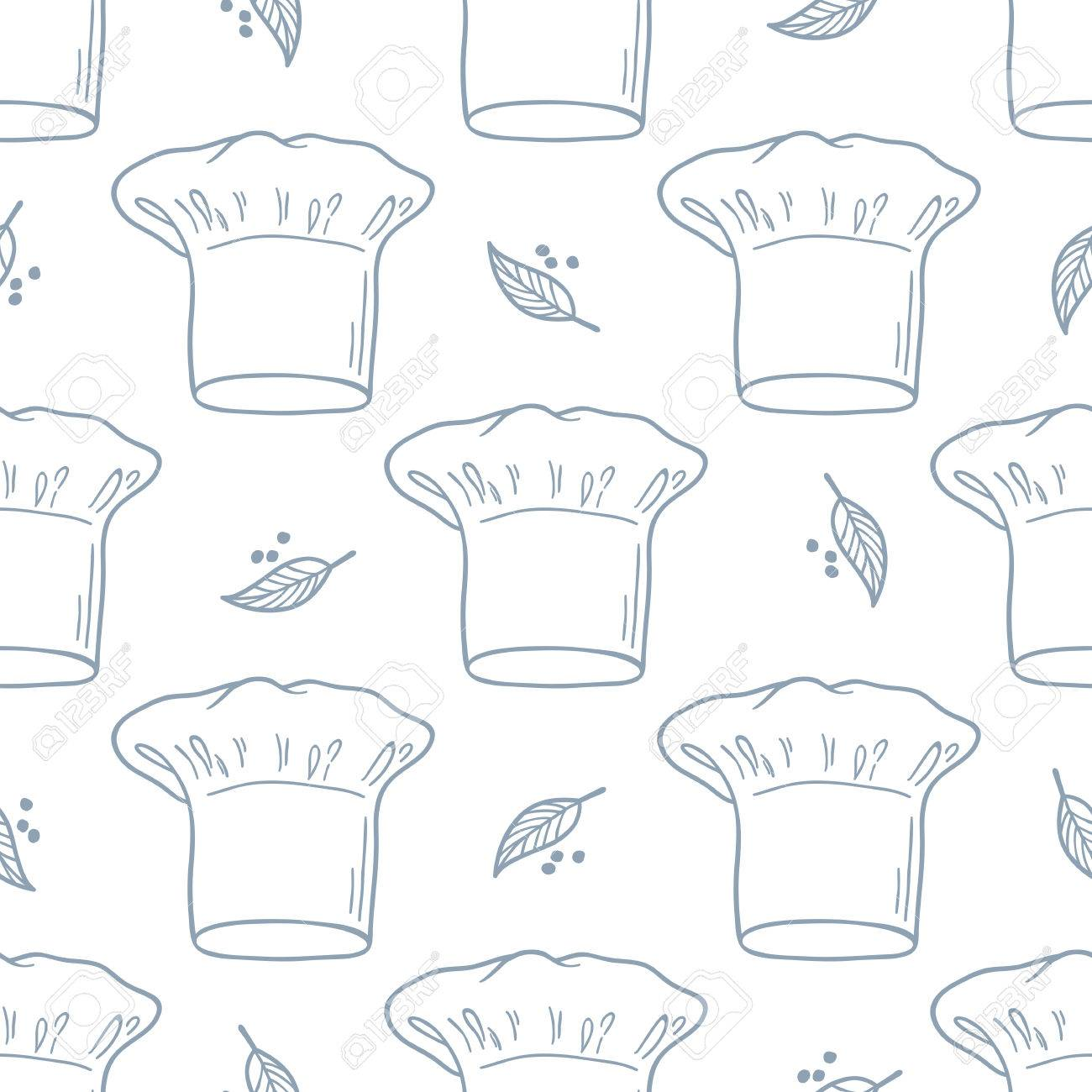 657e8375318 Seamless pattern with hand drawn chef hat. Kitchen background in outline  style. Vector illustration