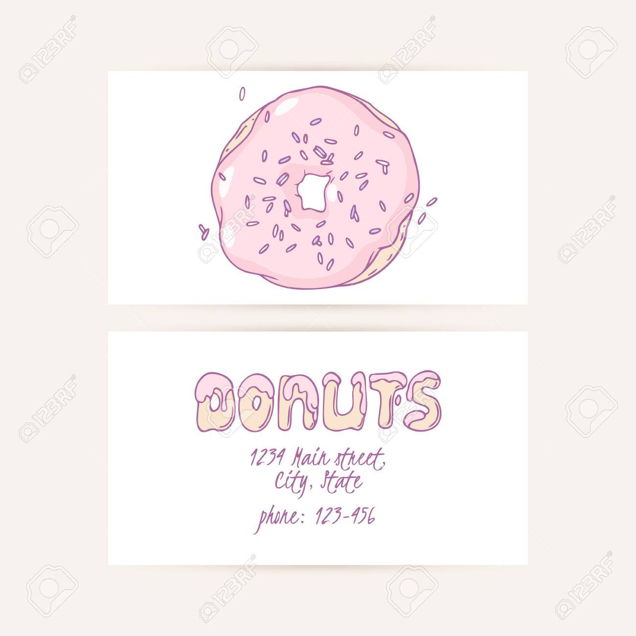Business cards set with hand drawn cake and place for text donut business cards set with hand drawn cake and place for text donut shop logo reheart Choice Image