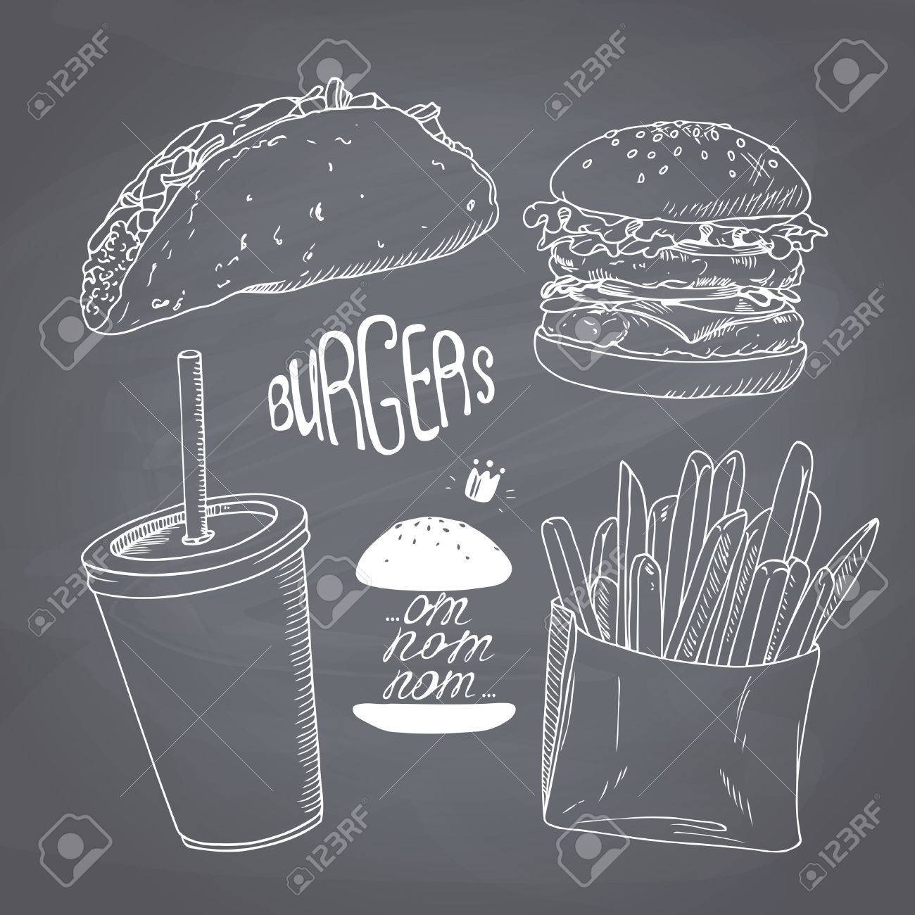 sketched fast food set burger french fries taco and paper sketched fast food set burger french fries taco and paper cup of milk