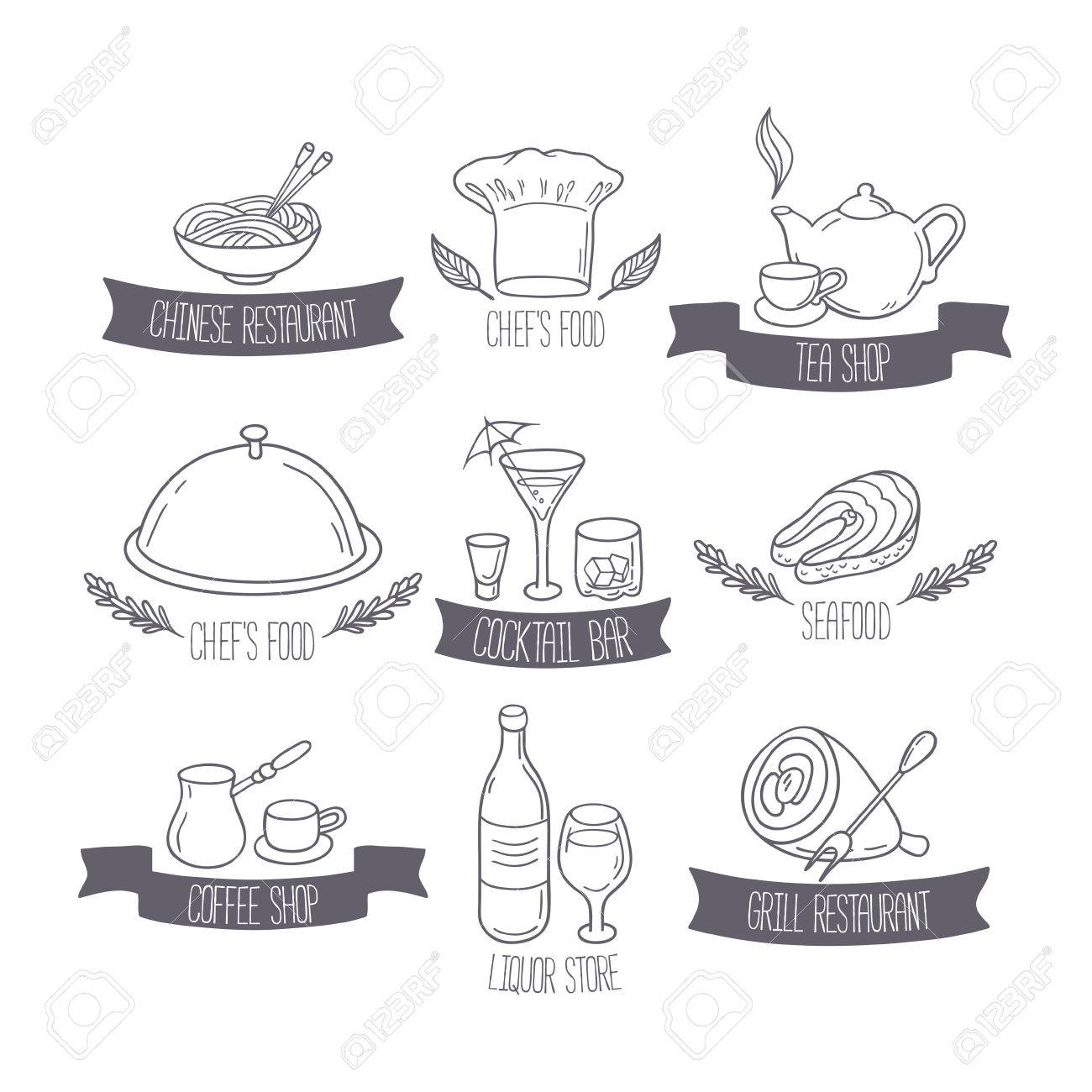 Hand Drawn Food And Drinks Labels Templates For Menu Or Cafe ...