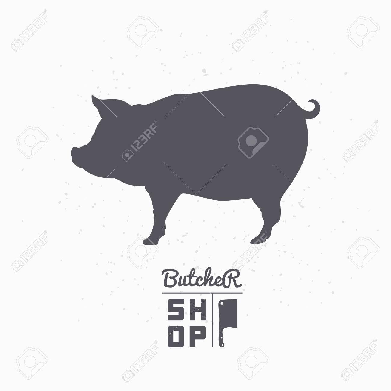 Pig Silhouette Pork Meat Butcher Shop Template For Craft Food Packaging Or Restaurant Design