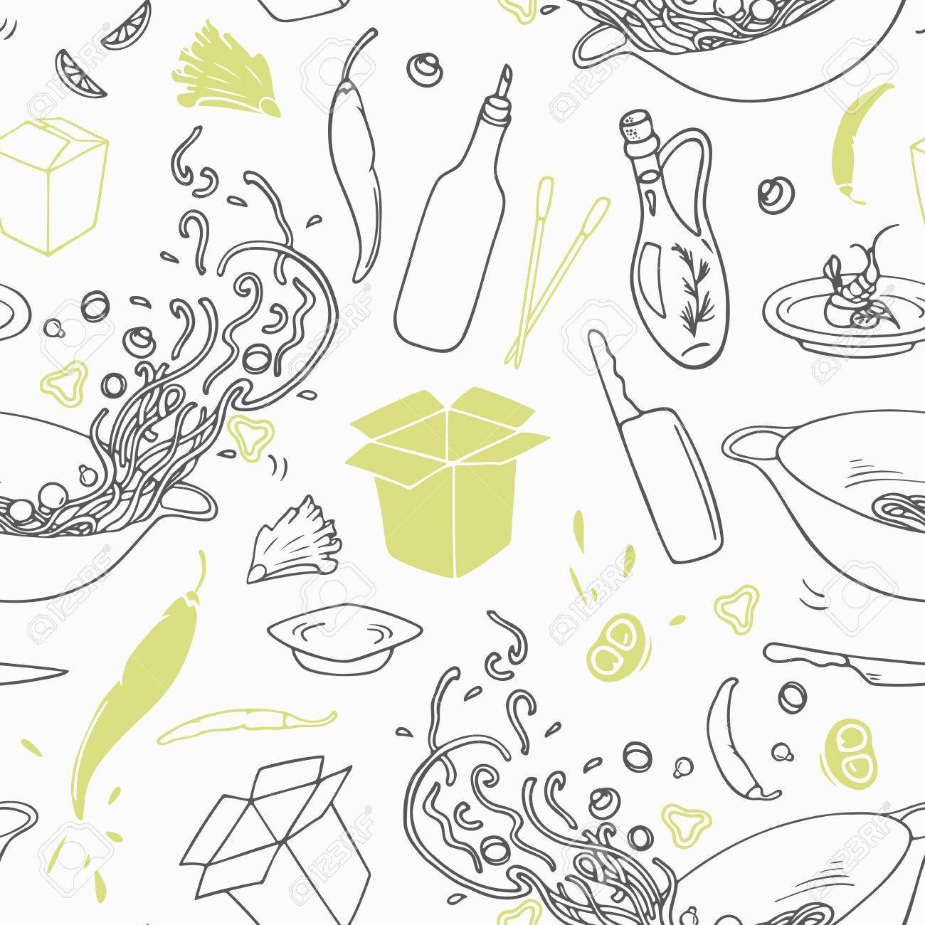 Stylized Seamless Pattern With Hand Drawn Wok Restaurant Elements Hipster Background Doodle Asian Cuisine