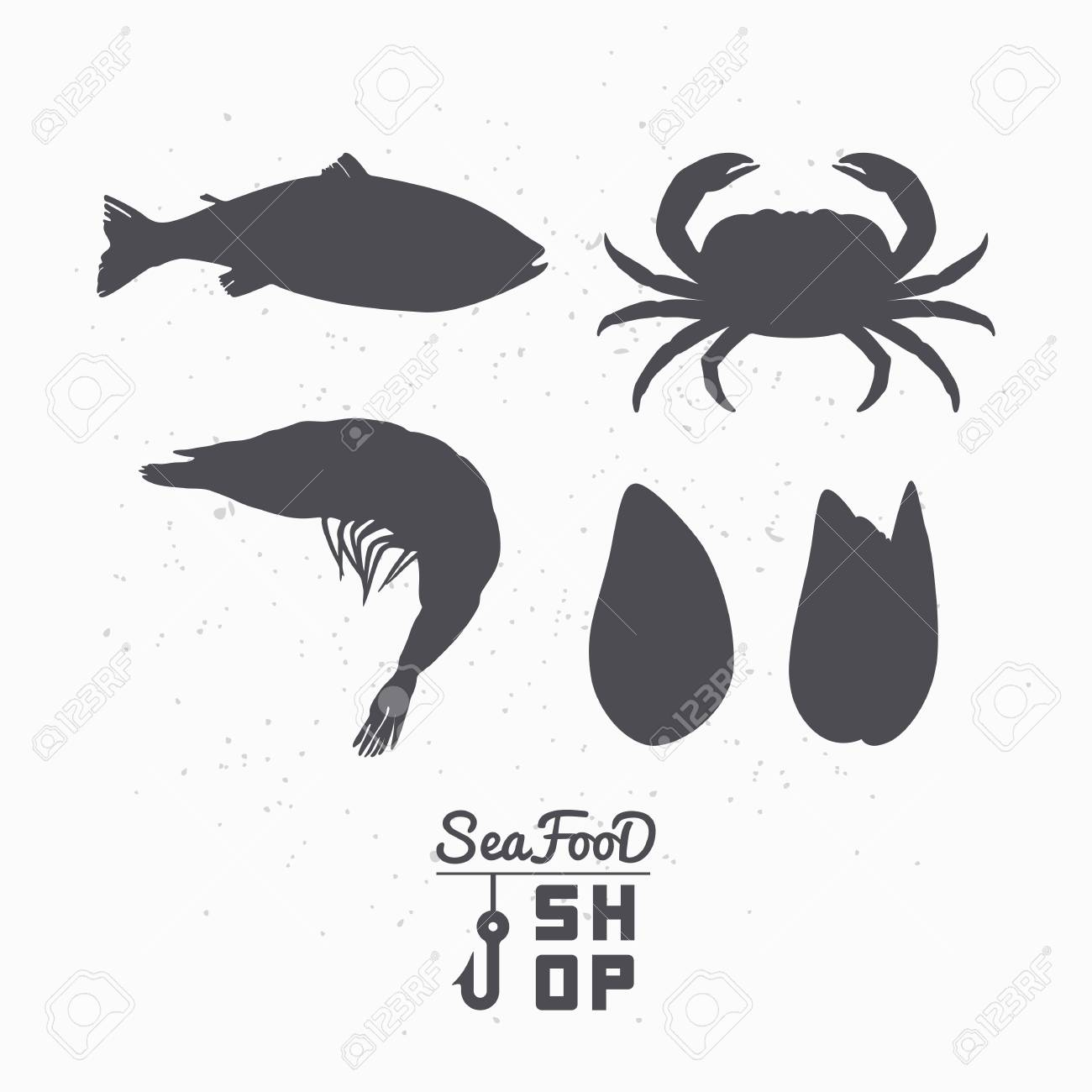 Set Of Marine Animals Silhouettes Fish Crab Shrimp And Mussels