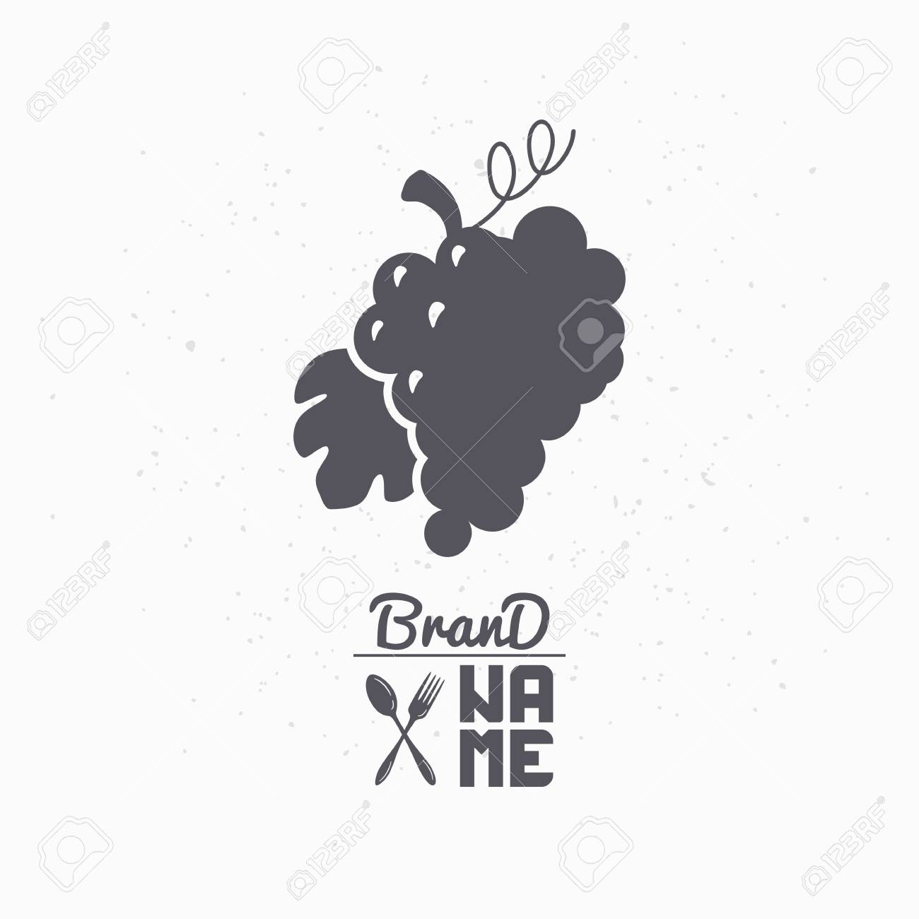 Hand Drawn Silhouette Of Grape Bunch Liquor Store Logo Template For Craft Food Packaging Or