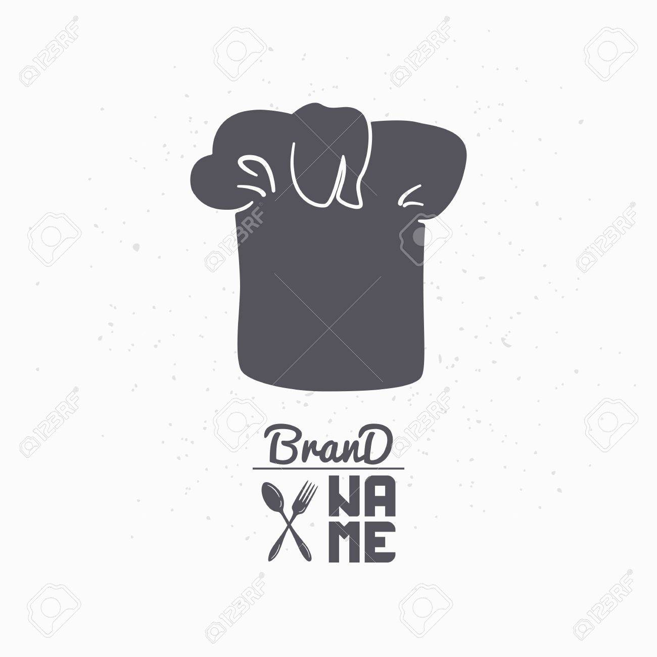 hand drawn silhouette of chef hat restaurant logo template for