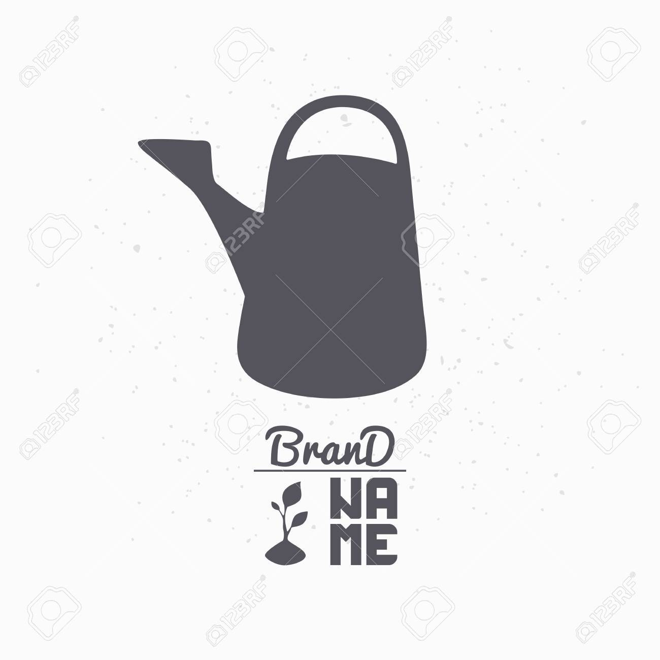 hand drawn silhouette of watering can eco food logo template