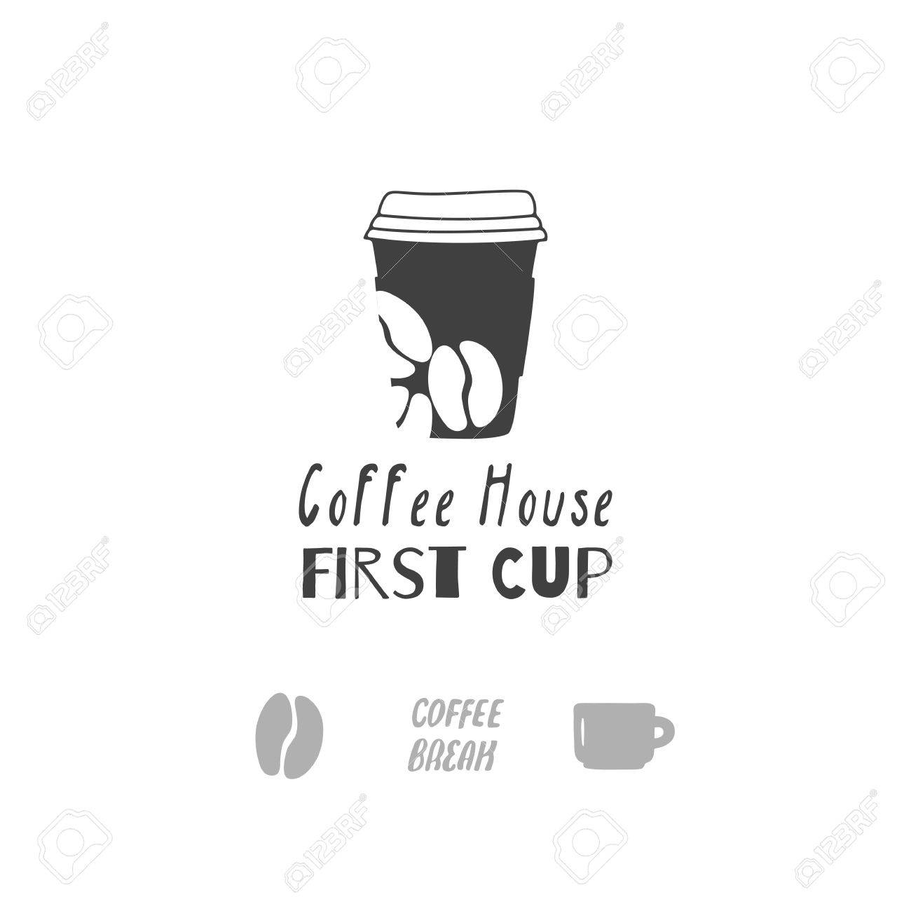 set of hand drawn silhouettes coffee bean mug paper cup and