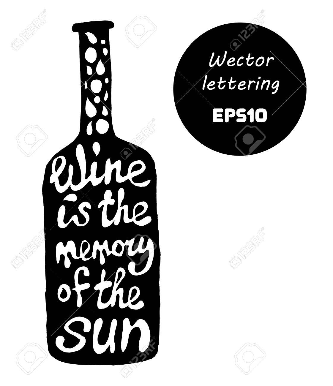 Citation Sur Le Vin En Forme De Bouteille Illustration Tiree Par