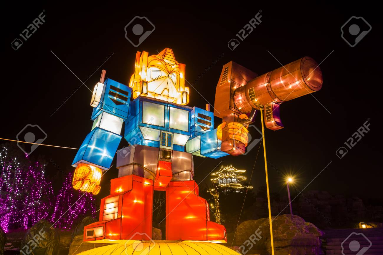 chinese lanterns outdoor decoration during night time stock photo