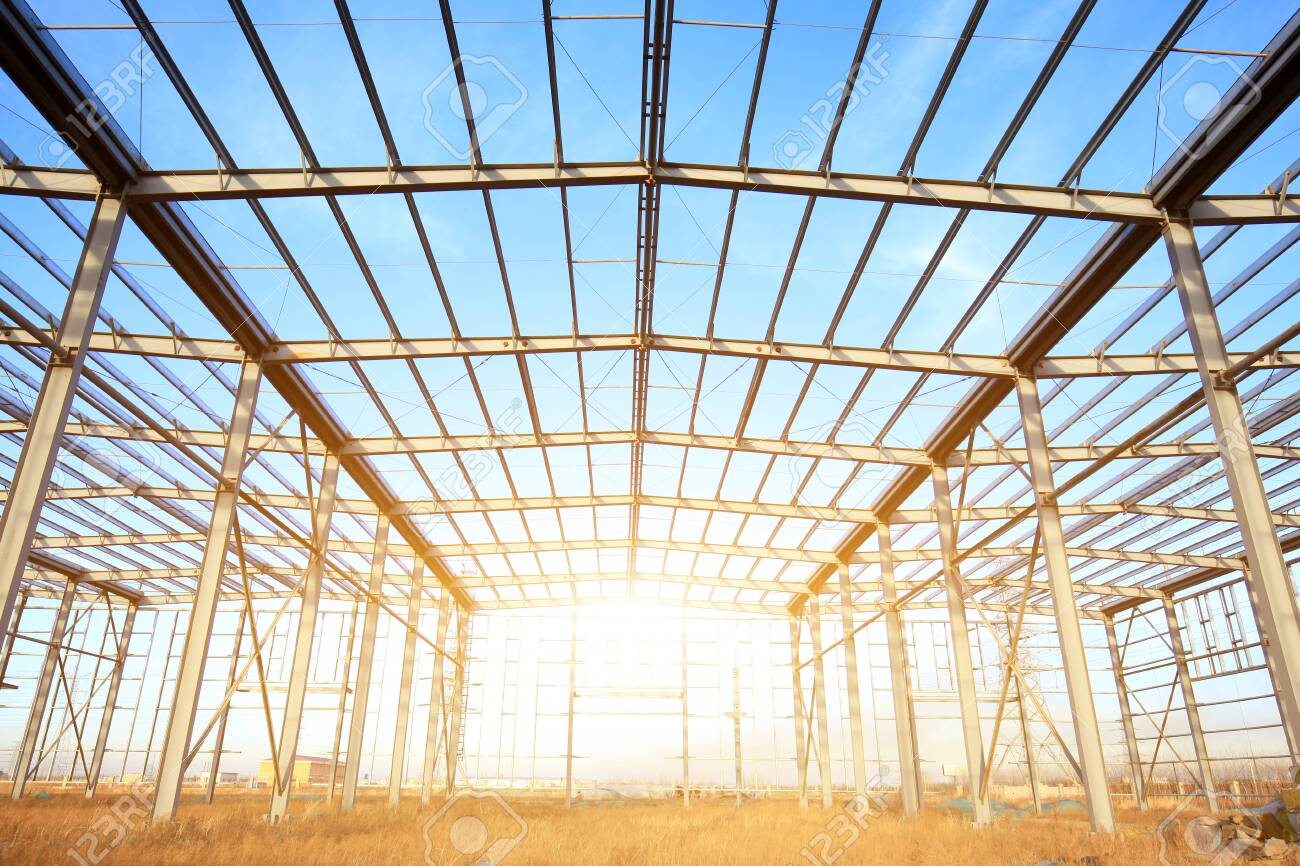 In the construction site, steel structure is under construction - 120773195