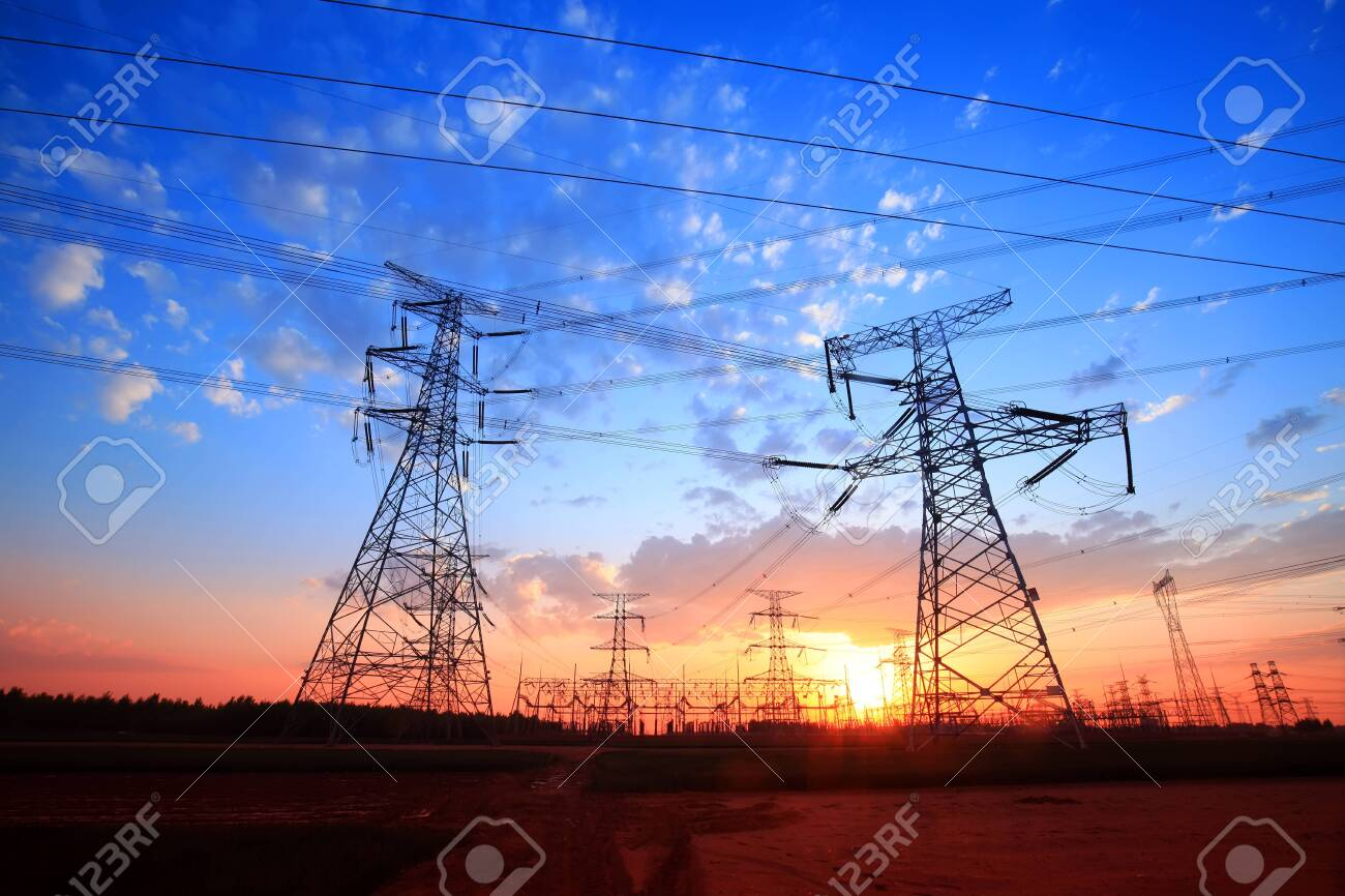 The silhouette of pylon, the pylon in the evening - 133806749