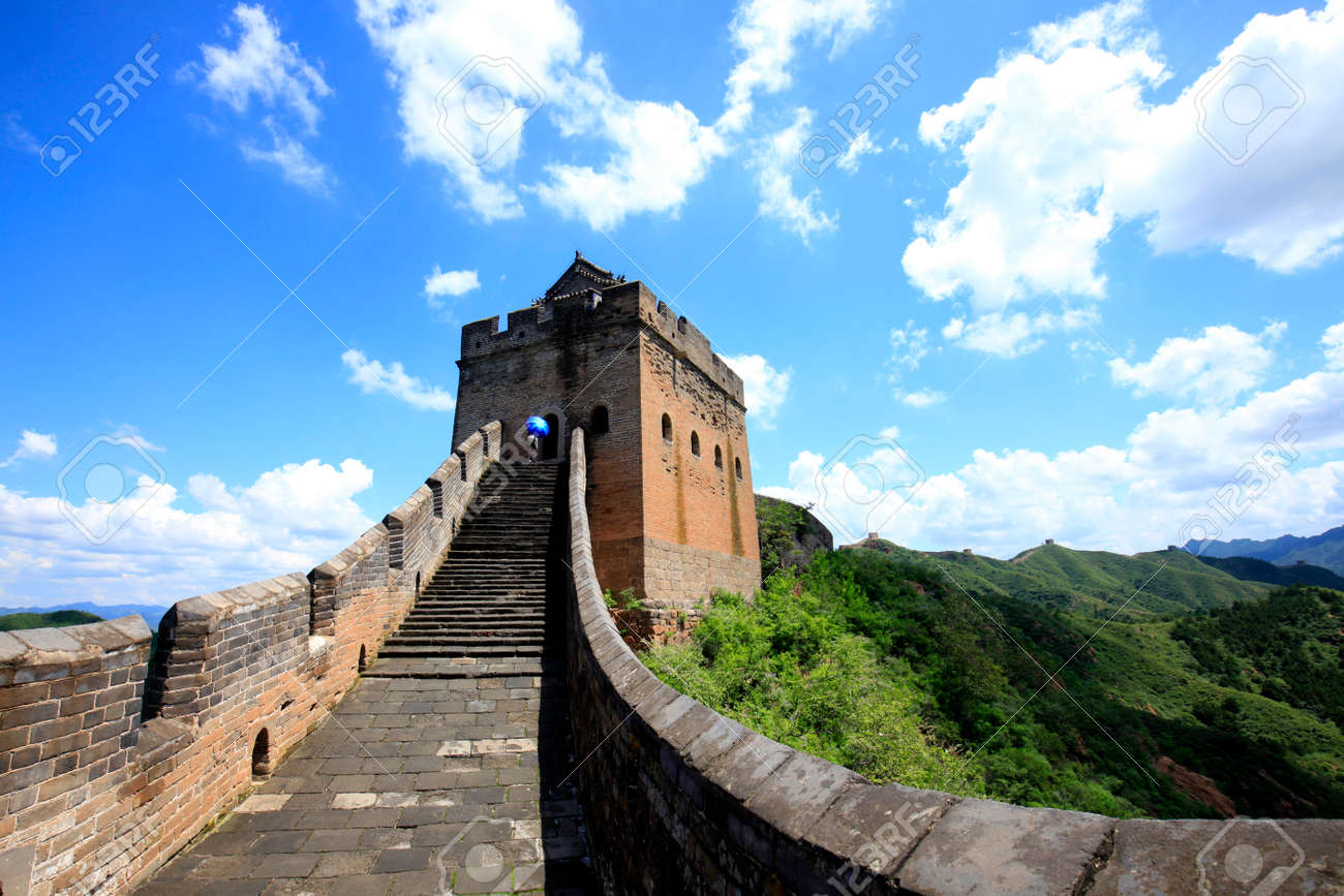 The Great Wall is in China. The Great Wall is under the blue sky and white clouds - 140507195