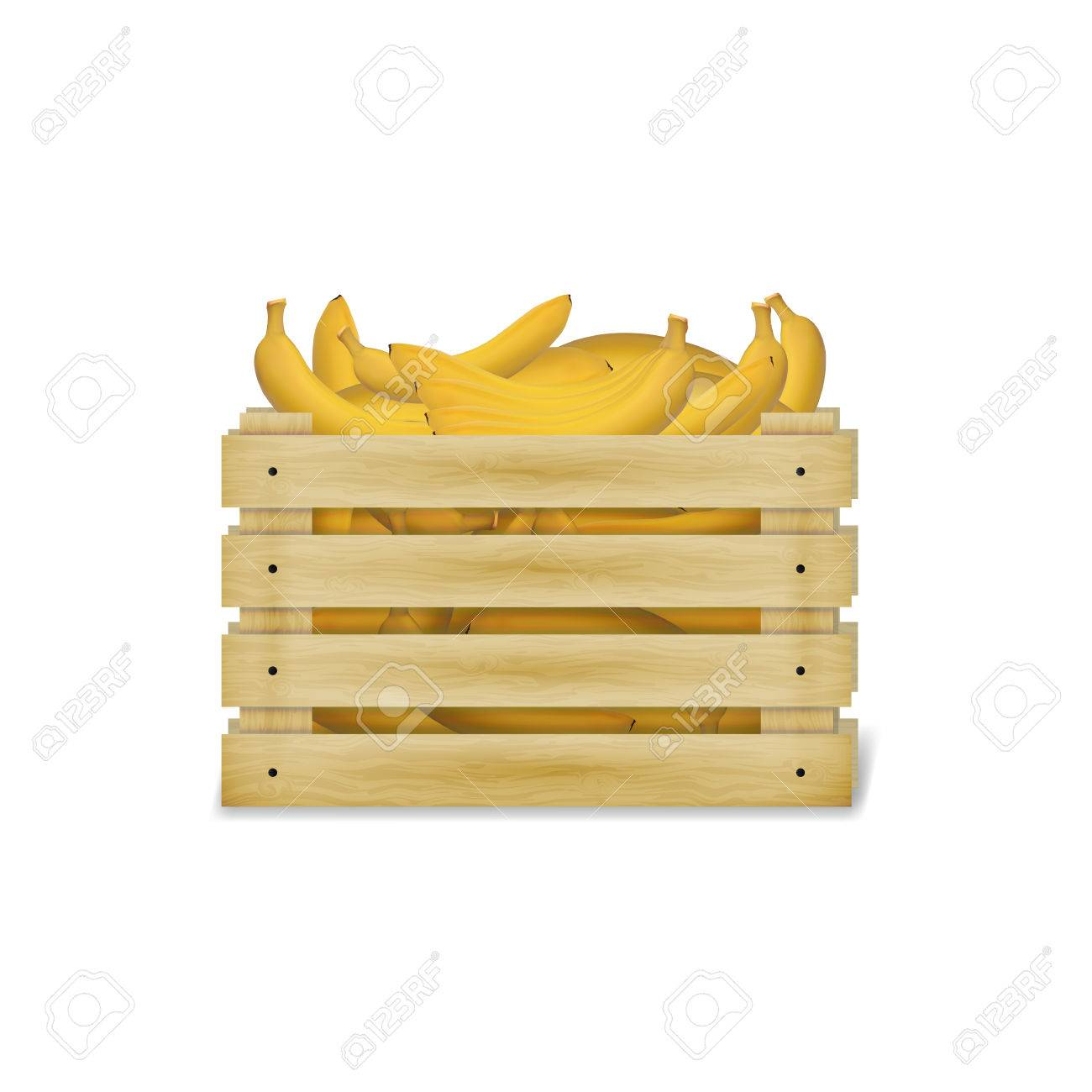 Illustration Of Wooden Box With Bananas Wooden Food Crate Isolated