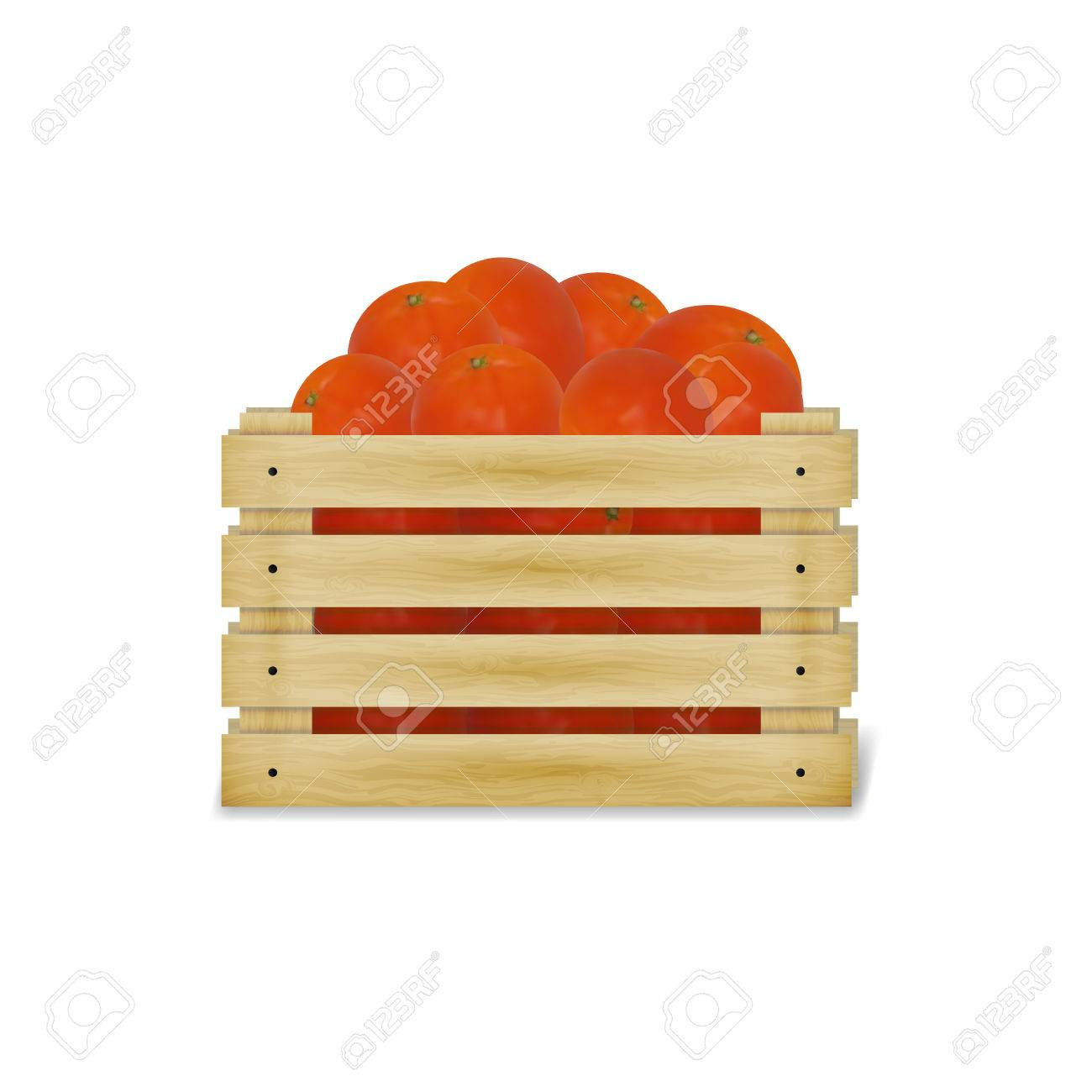 Illustration Of A Wooden Box With Tomatoes Wooden Food Crate