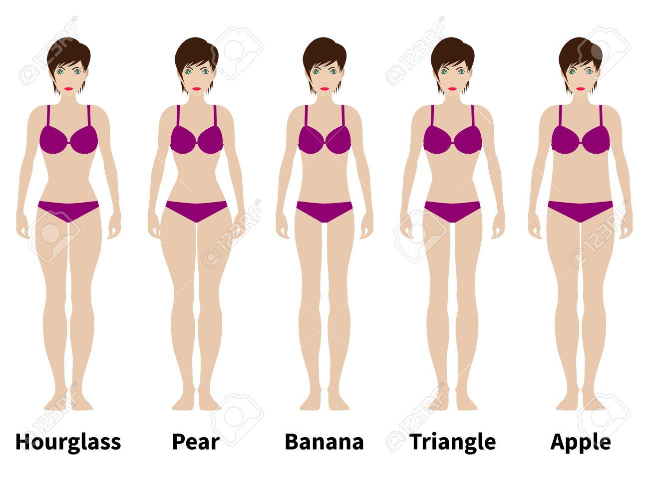 Figuras del cuerpo femenino. Formas de mujer, cinco tipos de reloj de arena, triángulo, triángulo invertido, rectángulo pera, ilustración vectorial