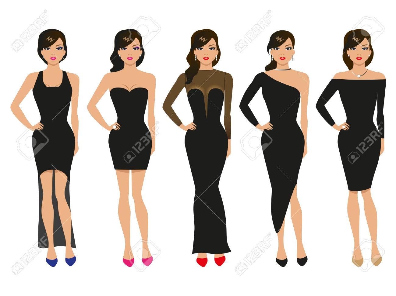 Vector Illustration Einer Reihe Von Abendkleidern. Das Mädchen In ...