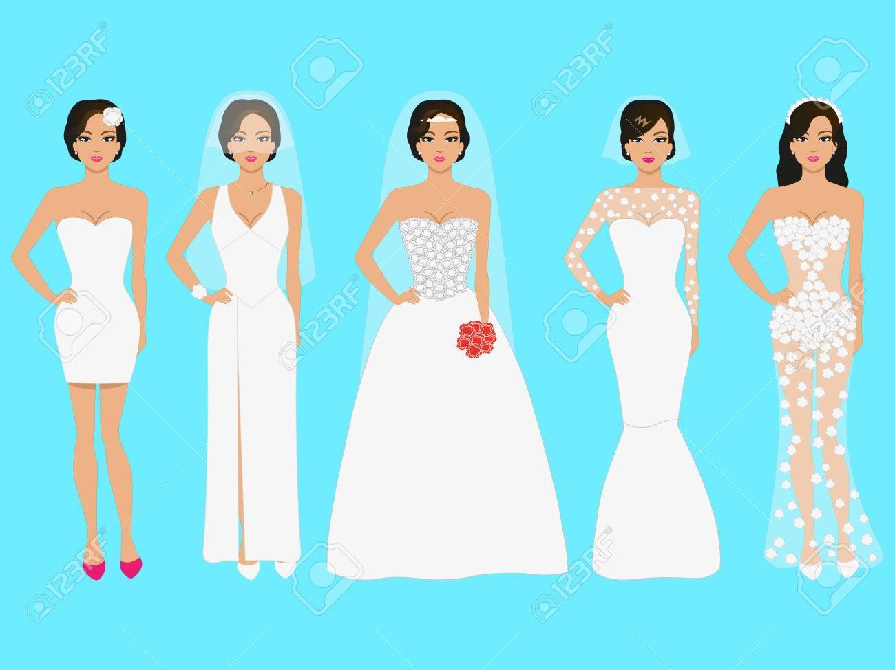 Vector Illustration Einer Reihe Von Hochzeitskleidern. Schöne ...
