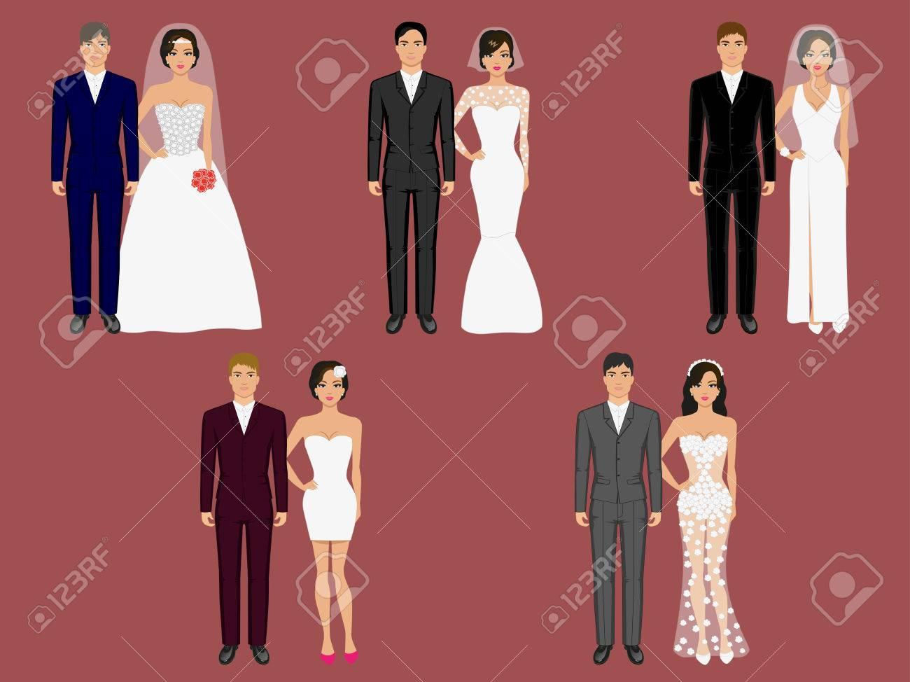 Hochzeit Kleidung, Kleidungsstück. Vector Illustration Braut Und ...