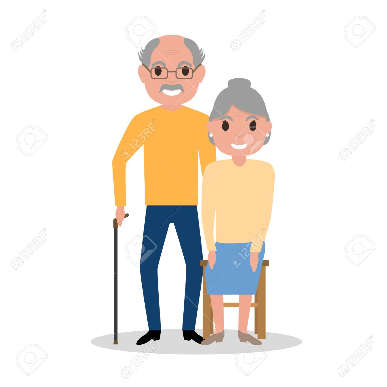 Disegni Di Persone Anziane.Illustrazione Vettoriale Di Una Coppia Di Anziani Nonni Persone Di Eta Cartoon Vecchi Disegno Immagine Isolato Su Sfondo Bianco Stile Piatto