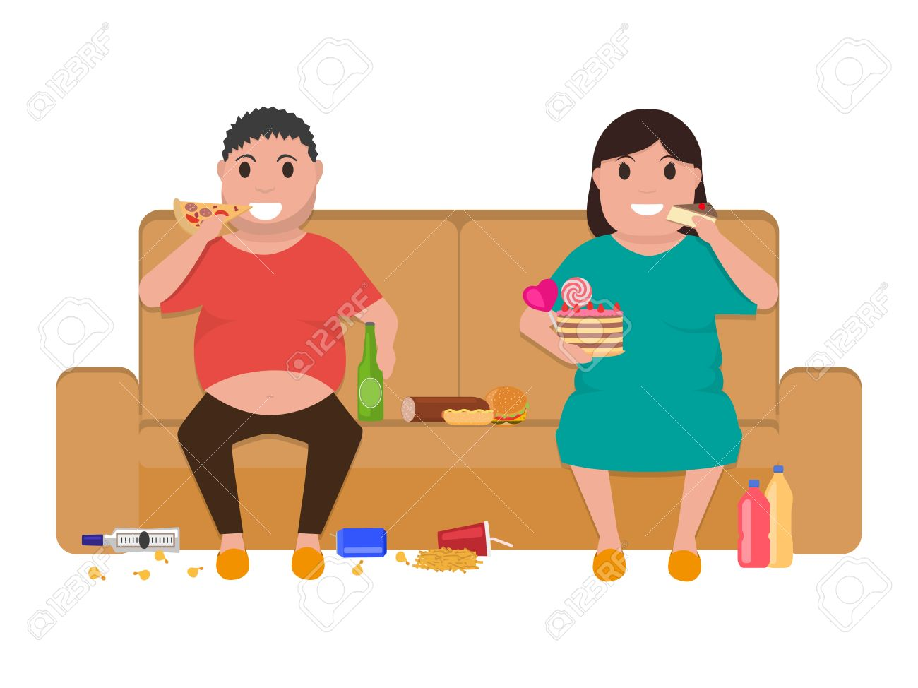 Vector Illustration Cartoon Fat Man And Woman Sitting On The