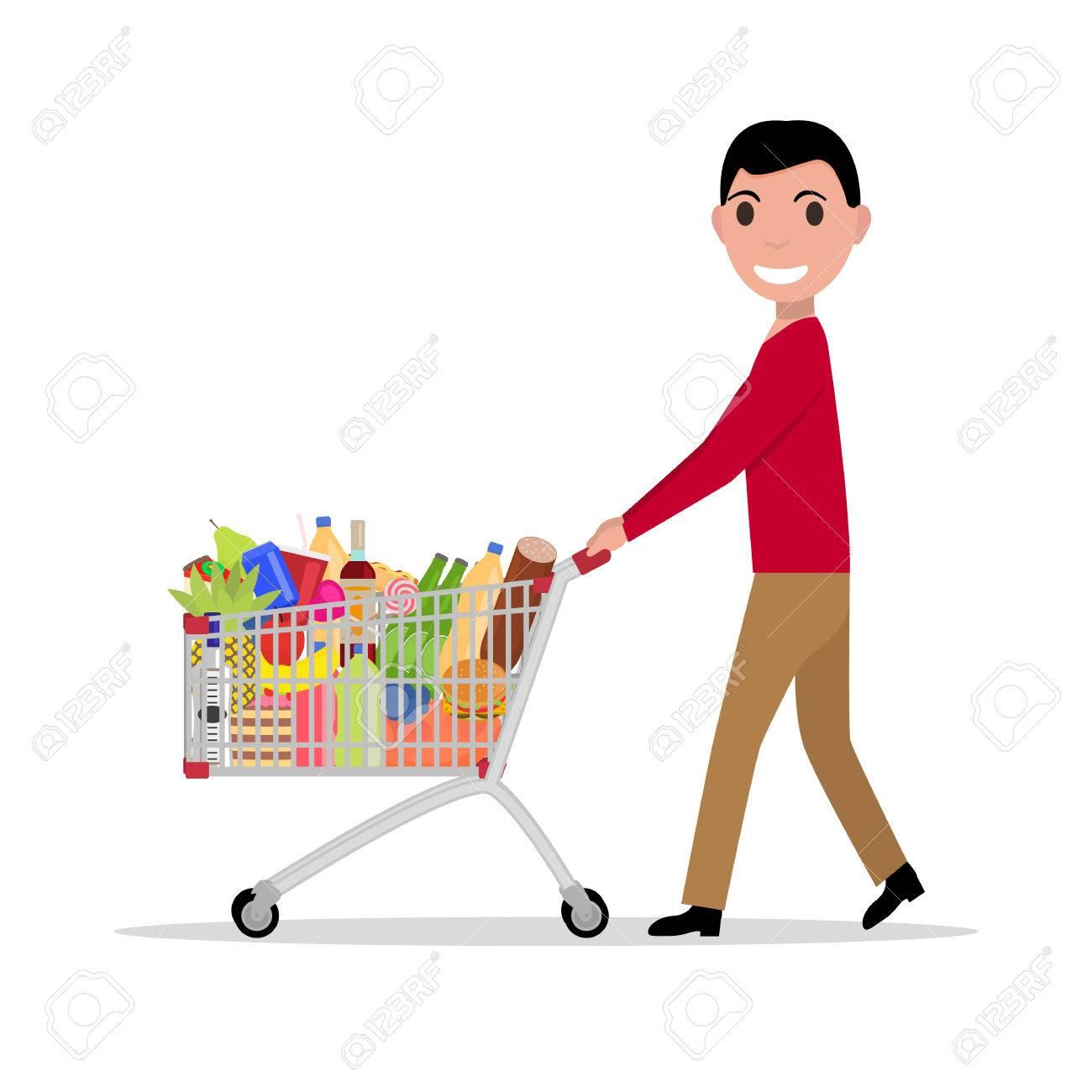 7100f6ef918cb Vector Ilustración De Un Hombre De Dibujos Animados Con Un Carrito De La  Compra Lleno De Comestibles. Hombre En El Supermercado Para Comprar Comida