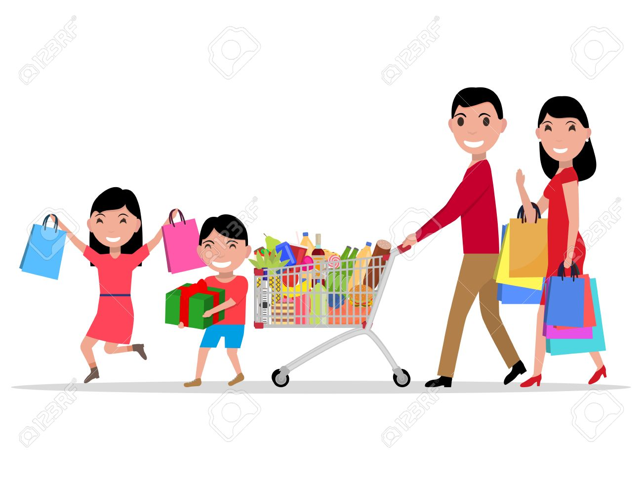 0fdbc5b437653 Vector - Vector illustration cartoon happy family shopping in a  supermarket. Parents with their children make purchase in store. Isolated  white background.