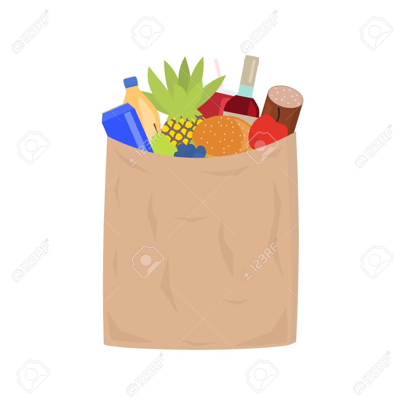 316bf794981 Foto de archivo - Ilustración de la bolsa de compras de papel llena de  comestibles. Mercado de envasado de papel con alimentos. Aislado blanco  estilo plano.