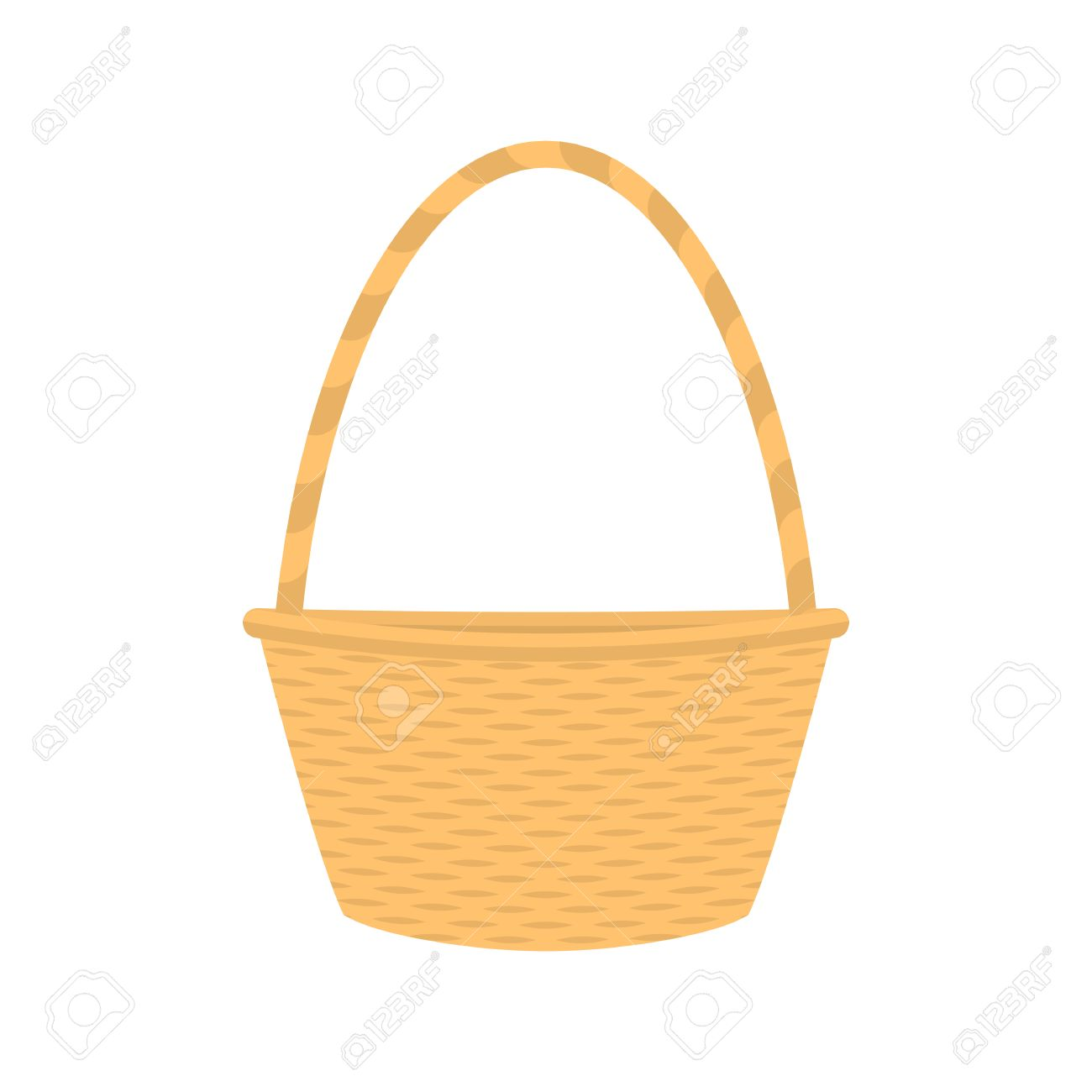 White wicker baskets with handle - Vector Vector Illustration Cartoon Straw Wicker Basket Isolated On White Background Flat Style Empty Decorative Braided Basket With Handle