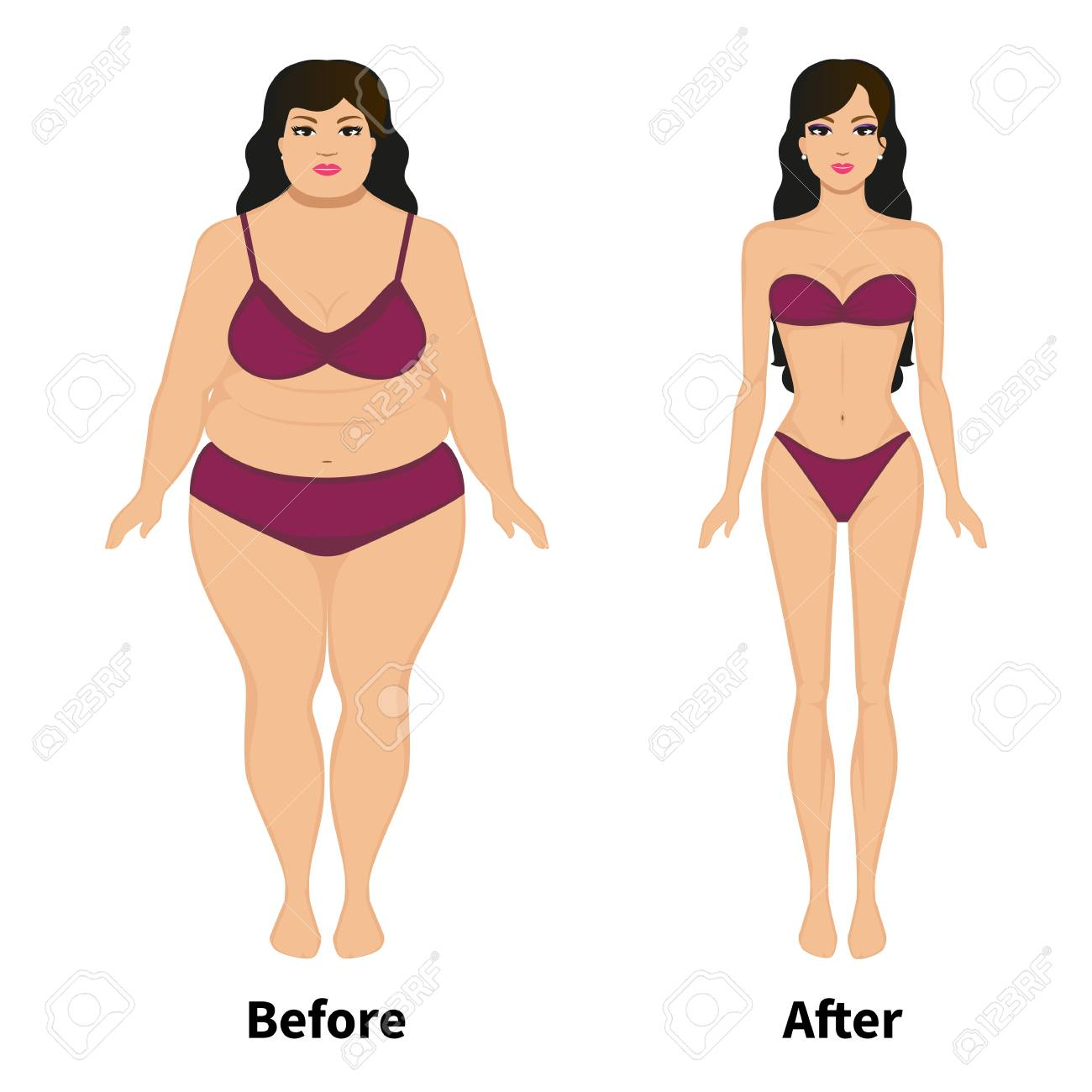 Vector Woman Before And After Weight Loss Royalty Free Cliparts Vectors And Stock Illustration Image 70563995
