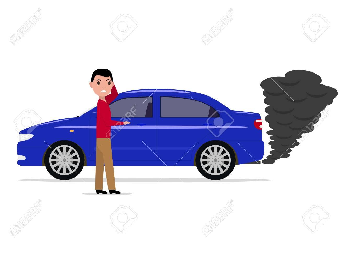 Car exhaust co2 smoke Royalty Free Vector Image