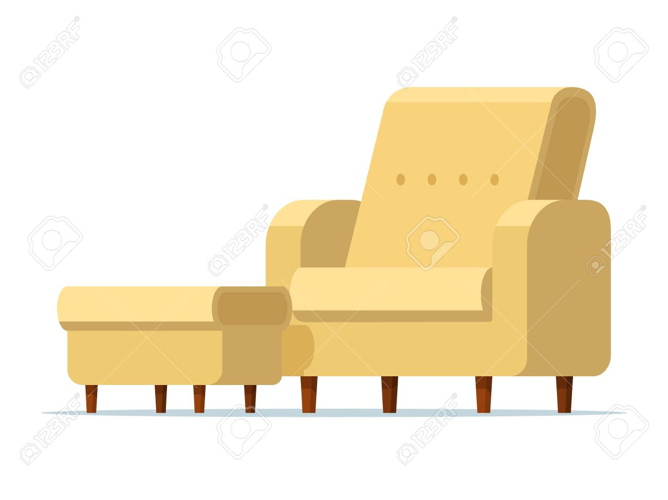 Vector illustration of a light yellow chair with a padded stool. Isolated white background. Empty armchair with a soft ottoman. Sofa chair with footstool. Flat style. - 110032285